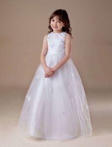 Sød Hvid Bløde Tyl Blomst Pige Kjoler Dåbskjoler