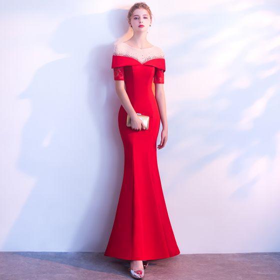 1be33c3fb Hermoso Rojo Vestidos de noche 2018 Trumpet   Mermaid Scoop Escote Sin  Espalda Manga Corta Largos Vestidos Formales