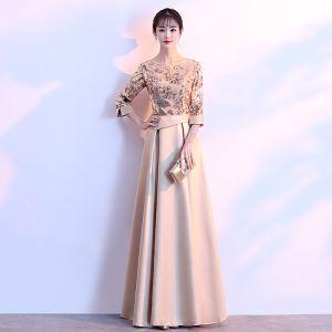 Schöne Gold Abendkleider 2018 A Linie Charmeuse U-Ausschnitt Perlenstickerei Pailletten Reißverschluss Glanz Abend Festliche Kleider