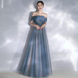 Elegant Havblåt Selskabskjoler 2020 Prinsesse Off-The-Shoulder Kort Ærme Glitter Tulle Beading Lange Flæse Halterneck Kjoler