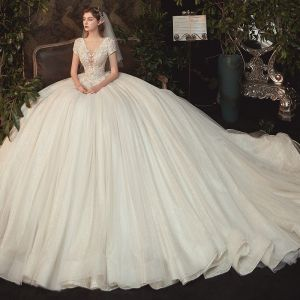 Romantic Champagne Bridal Wedding Dresses 2020 Ball Gown See-through Deep V-Neck Short Sleeve Backless Appliques Lace Beading Glitter Tulle Cathedral Train Ruffle