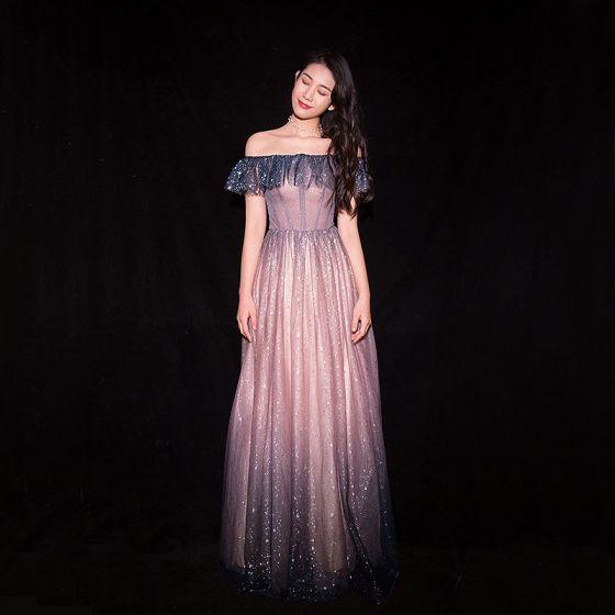 Sparkly Gradient-Color Blushing Pink Evening Dresses  2019 A-Line / Princess Off-The-Shoulder Glitter Sequins Short Sleeve Backless Floor-Length / Long Formal Dresses