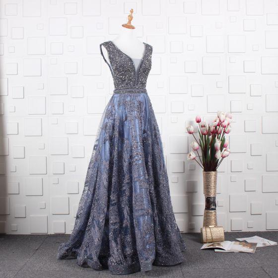 Luxus / Herrlich Meeresblau Handgefertigt Perlenstickerei Abendkleider 2019 A Linie V-Ausschnitt Kristall Spitze Blumen Ärmellos Rückenfreies Lange Festliche Kleider