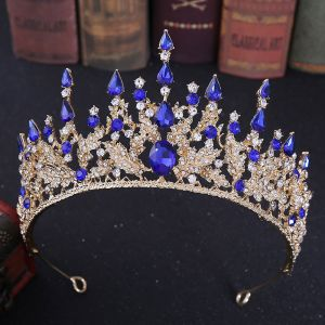 Elegant Royal Blue Rhinestone Tiara Bridal Hair Accessories 2020 Alloy Wedding Accessories
