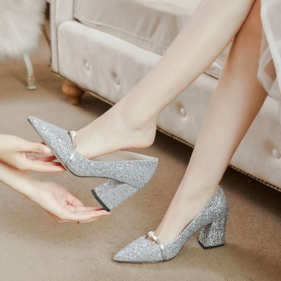 Chic / Beautiful Silver Wedding Shoes 2020 7 cm Beading Pearl Wedding Cocktail Party Evening Party Pointed Toe Womens Shoes