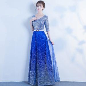 Sparkly Bling Bling Royal Blue Floor-Length / Long Evening Dresses  2018 V-Neck Tulle Beading Sequins Starry Sky Evening Party Formal Dresses