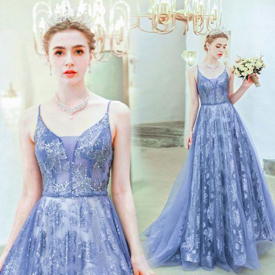 Snygga / Fina Ocean Blå Aftonklänningar 2019 Prinsessa Spaghettiband Beading Kristall Spets Blomma Ärmlös Halterneck Långa Formella Klänningar