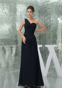 2015 Simple Empire One Shoulder Ruffle Long Bridesmaid Dresses