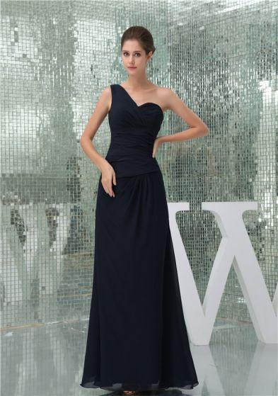 2015 Simple Empire One Shoulder Ruffle Long Bridesmaid Dresses