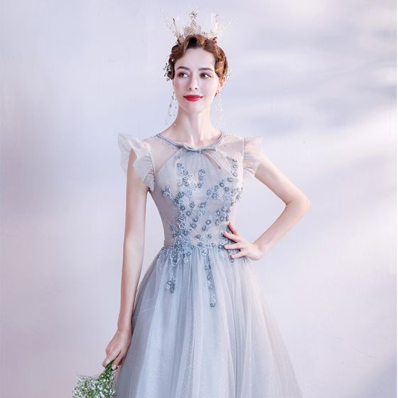 Vintage / Retro Silver Prom Dresses 2021 A-Line / Princess Scoop Neck Bow Beading Pearl Rhinestone Sequins Sleeveless Backless Floor-Length / Long Prom Formal Dresses