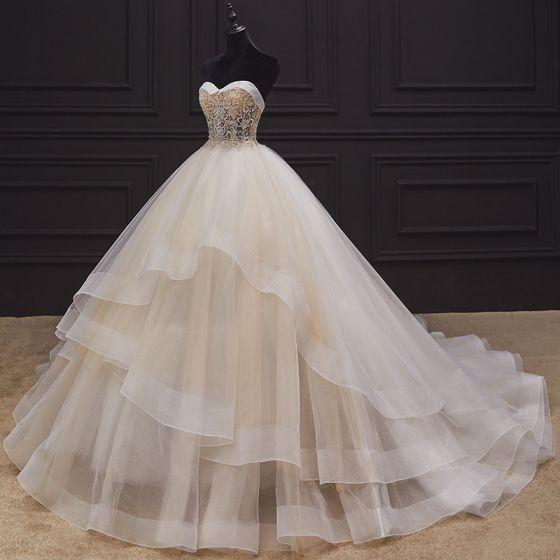 Luxury / Gorgeous Champagne Bridal Wedding Dresses 2020 Ball Gown Sweetheart Sleeveless Backless Beading Chapel Train Cascading Ruffles