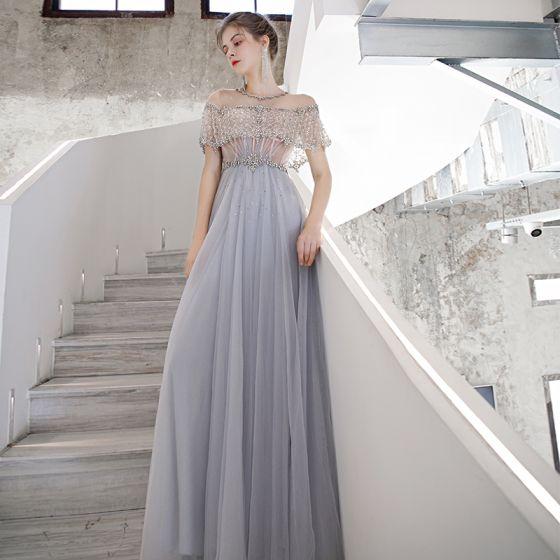 Wysokiej Klasy Błękitne Przezroczyste Taniec Sukienki Na Bal 2020 Princessa Wycięciem Kótkie Rękawy Frezowanie Cekiny Trenem Sweep Wzburzyć Sukienki Wizytowe