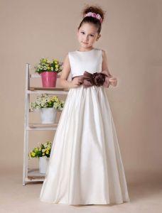 Weißes Ärmelloses Schleife-schärpe Satin Blumenmädchen Kleid Kommunionkleider