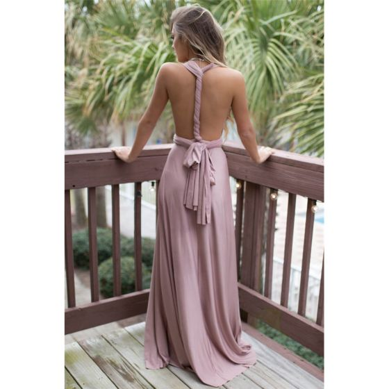 Amazing / Unique Blushing Pink Maxi Dresses 2018 A-Line / Princess Sash V-Neck Short Sleeve Backless Floor-Length / Long Womens Clothing
