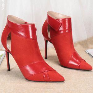 Schöne Rot Strassenmode Stiefel Damen 2020 Ankle Boots 10 cm Stilettos Spitzschuh Stiefel