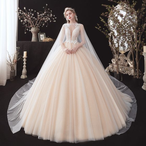 Romantic Champagne Bridal Wedding Dresses With Shawl 2020 Ball Gown Deep V-Neck Sleeveless Backless Glitter Tulle Appliques Beading Watteau Train Ruffle