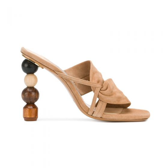 Fantastiske / Unike Aprikos Casual Sandaler Dame 2019 Lær Suede 10 cm Stiletthæler Peep Toe Sandaler