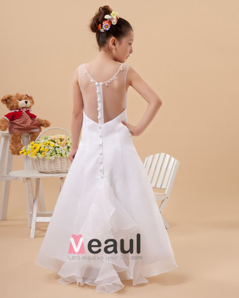 Organza Satin Round Neck Sleeveless Floor Length Flower Girl Dresses