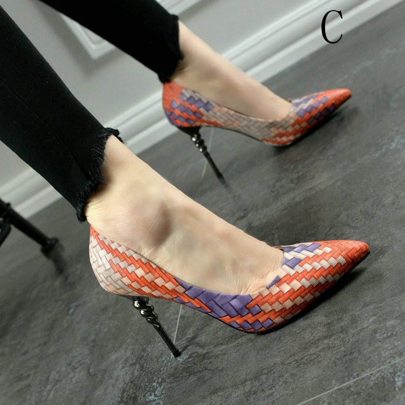 Chic / Beautiful Multi-Colors Pumps 2017 Office PU Braid Pointed Toe Stiletto Heels Pumps
