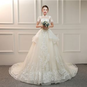 Vintage / Retro Ivory See-through Wedding Dresses 2019 A-Line / Princess High Neck Short Sleeve Backless Appliques Lace Beading Tassel Pearl Rhinestone Cathedral Train