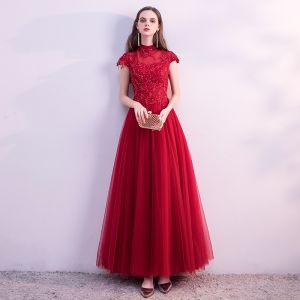 Chinese style Red See-through Prom Dresses 2018 A-Line / Princess High Neck Cap Sleeves Glitter Beading Ankle Length Ruffle Backless Formal Dresses