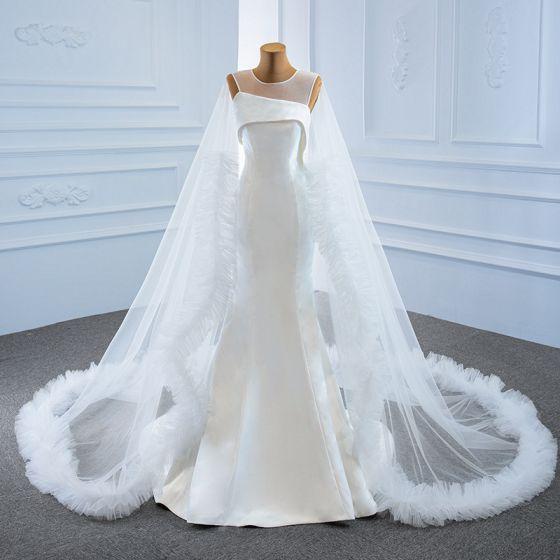 High-end White Satin Bridal Wedding Dresses 2020 Trumpet / Mermaid See-through Scoop Neck Sleeveless Backless Watteau Train