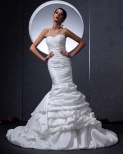 Charmeuse Schatz-rüsche-fußbodenlängen-hochzeitskleid Brautkleider