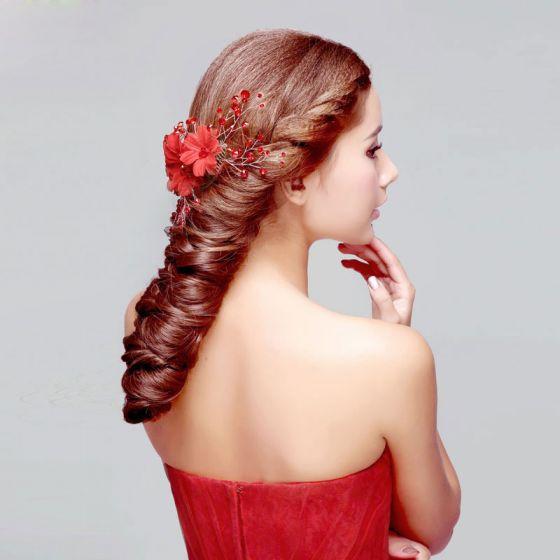 Red Crystal Bridal Headpieces / Head Flower / Wedding Hair Accessories / Wedding Jewelry