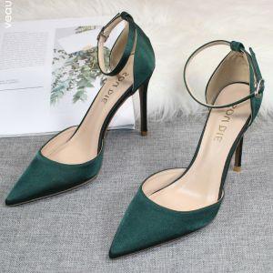 Fine Mørk Grønn Satin Ball Sandaler Dame 2020 Ankelstropp 10 cm Stiletthæler Spisse Sandaler