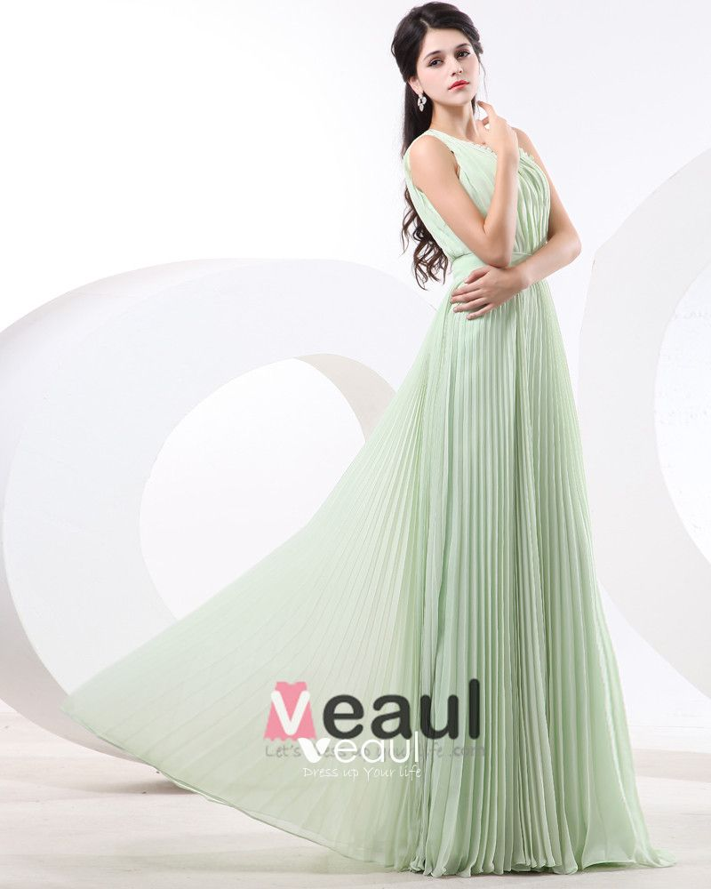 Empire One Shoulder Floor Length Chiffon Bridesmaid Dress
