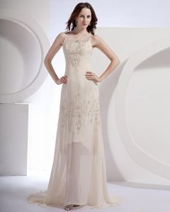 Chiffon Satin Beading Shoulder Straps Floor Length Evening Dresses