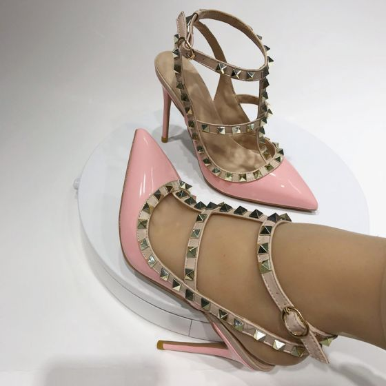 Sexy Blushing Pink Evening Party Rivet Womens Sandals 2020 10 cm Stiletto Heels Pointed Toe Sandals