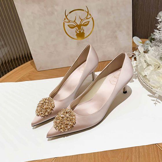 Encantador Champán Perla Zapatos de novia 2021 Cuero 6 cm Stilettos / Tacones De Aguja Punta Estrecha Boda Tacones High Heels