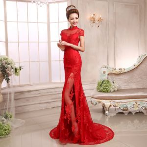 Chinese style Red Evening Dresses  2018 Trumpet / Mermaid Appliques Lace Sequins High Neck Short Sleeve Sweep Train Formal Dresses