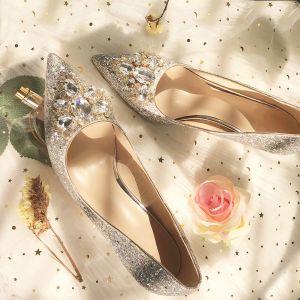 Glitter Zilveren Huwelijk Bruidsmeisjes Pumps 2019 Rhinestone Pailletten 8 cm Naaldhakken / Stiletto Spitse Neus Bruidsschoenen