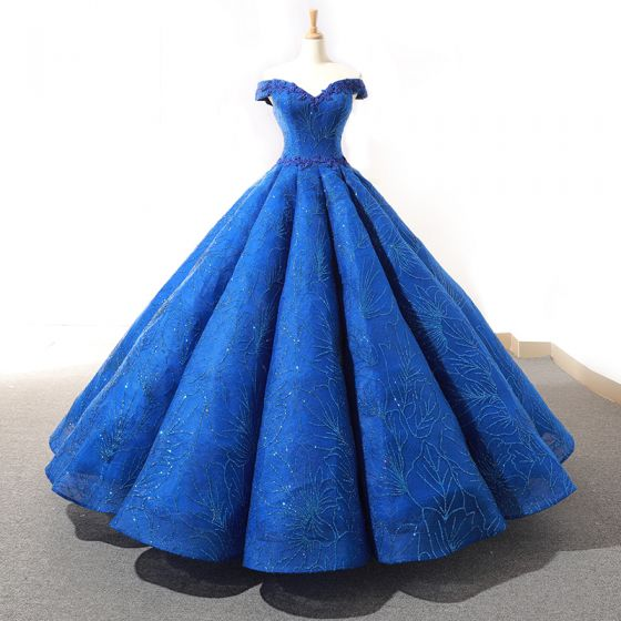 High-end Royal Blue Dancing Prom Dresses 2020 Ball Gown Off-The-Shoulder Short Sleeve Appliques Lace Beading Glitter Tulle Floor-Length / Long Ruffle Backless Formal Dresses