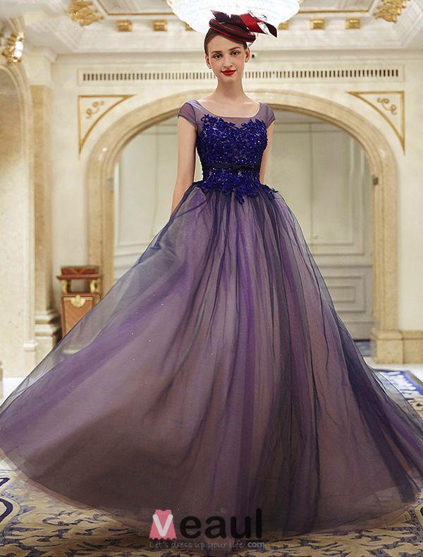 Elegante Glitter Organza Applique Kant Koningsblauw Galajurk