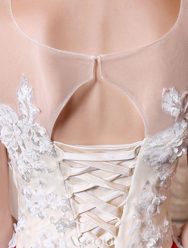 Glamourösen Ballkleider 2017 U-ausschnitt Applique Pailletten Burgunder Satinkleid Schnüren