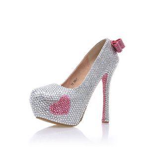 Charmant Argenté Faux Diamant Chaussure De Mariée 2020 Noeud Cuir Imperméables 14 cm Talons Aiguilles À Bout Rond Mariage Escarpins