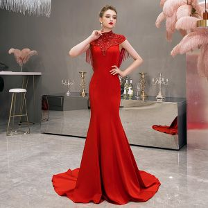 Vintage / Retro Red Evening Dresses  2019 Trumpet / Mermaid High Neck Sleeveless Pearl Beading Tassel Sweep Train Ruffle Formal Dresses