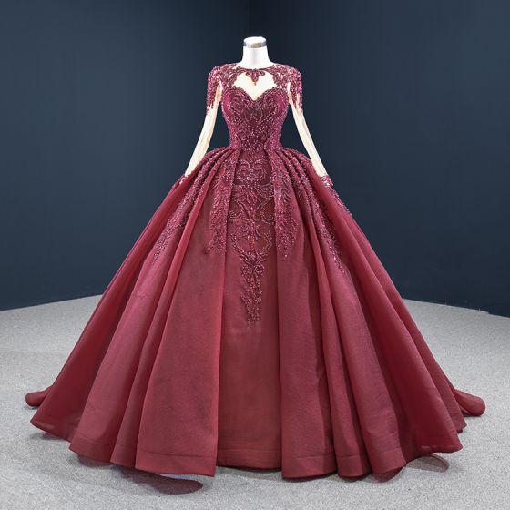 Vintage Burgund Sukienki Na Bal 2020 Suknia Balowa Przezroczyste Wycięciem Długie Rękawy Cekiny Wykonany Ręcznie Frezowanie Trenem Sąd Wzburzyć Bez Pleców Sukienki Wizytowe