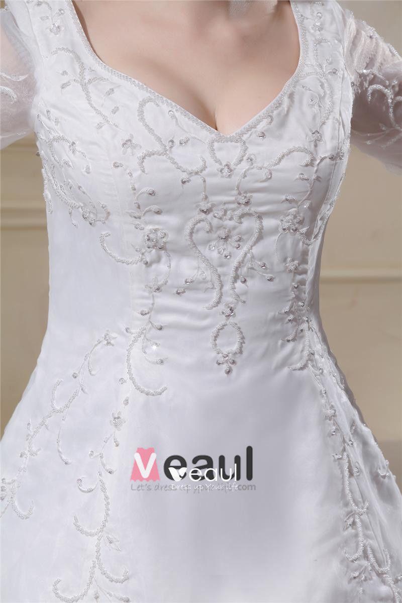 Organza Applique V Neck Chapel Plus Size Bridal Gown Wedding Dresses