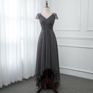 Chic / Beautiful Grey Evening Dresses  2019 A-Line / Princess V-Neck Cap Sleeves Beading Asymmetrical Ruffle Backless Formal Dresses