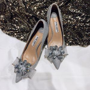 Mode Zilveren Glans Bruidsschoenen 2020 Leer Rhinestone Pailletten 8 cm Naaldhakken / Stiletto Spitse Neus Huwelijk Pumps