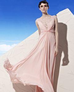 Cou Dentelle Fleur Perles Etage Longueur Empire Tencel Robe De Soirée Femme Ronde