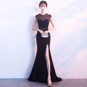 Sexy Black Evening Dresses  2017 Trumpet / Mermaid Sequins Split Front Scoop Neck Sleeveless Floor-Length / Long Pierced Formal Dresses