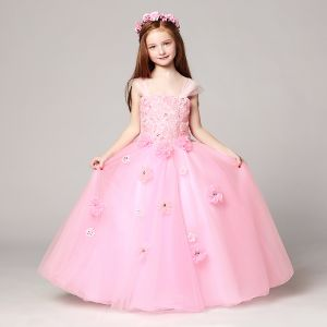 Chic / Beautiful Blushing Pink Flower Girl Dresses 2017 Ball Gown Shoulders Sleeveless Lace Appliques Flower Rhinestone Floor-Length / Long Ruffle Backless Wedding Party Dresses