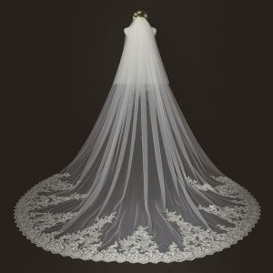Chic / Beautiful Ivory Lace Tulle Cathedral Train Appliques 3 m Wedding Veils 2018