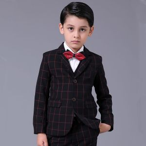 Simple Rouge à carreaux Manches Longues Boys Wedding Suits 2017