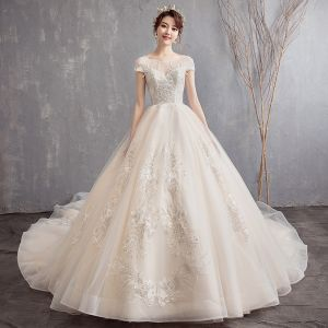 Classy Champagne Wedding Dresses 2019 A-Line / Princess See-through Scoop Neck Backless Cap Sleeves Appliques Lace Beading Cathedral Train